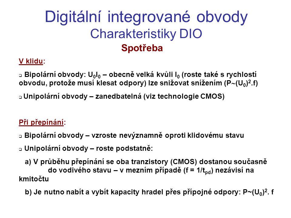 Digitální integrované obvody Charakteristiky DIO