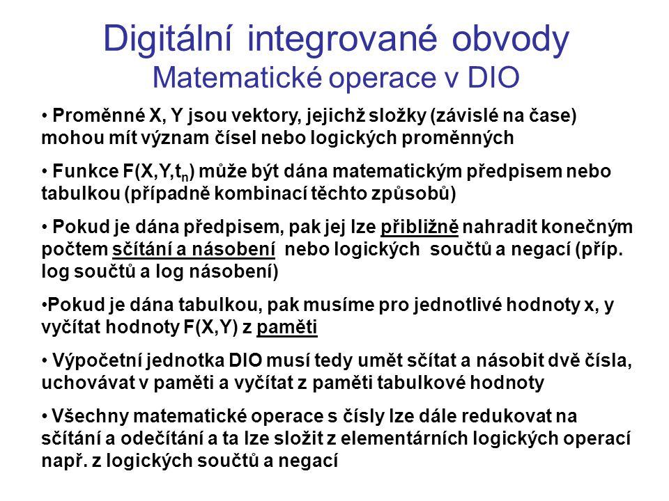Digitální integrované obvody Matematické operace v DIO