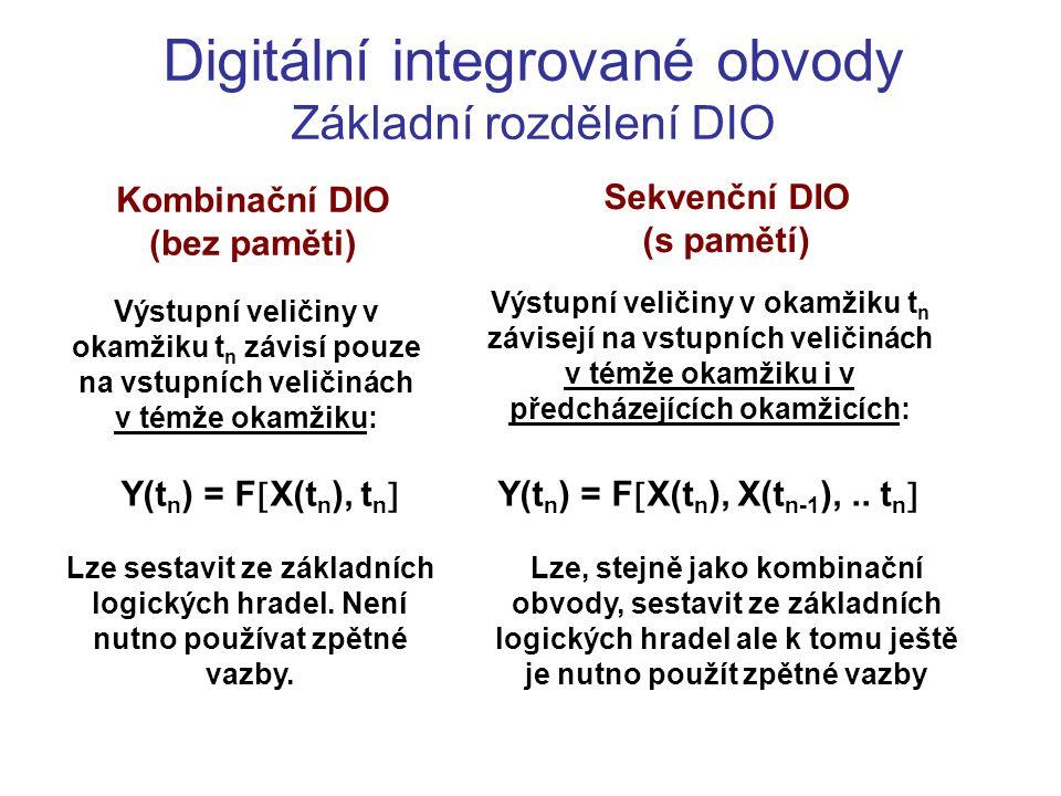 Digitální integrované obvody Základní rozdělení DIO