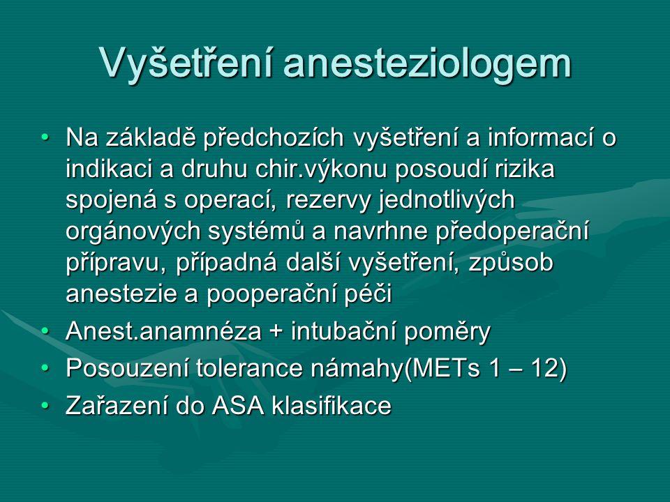 Vyšetření anesteziologem