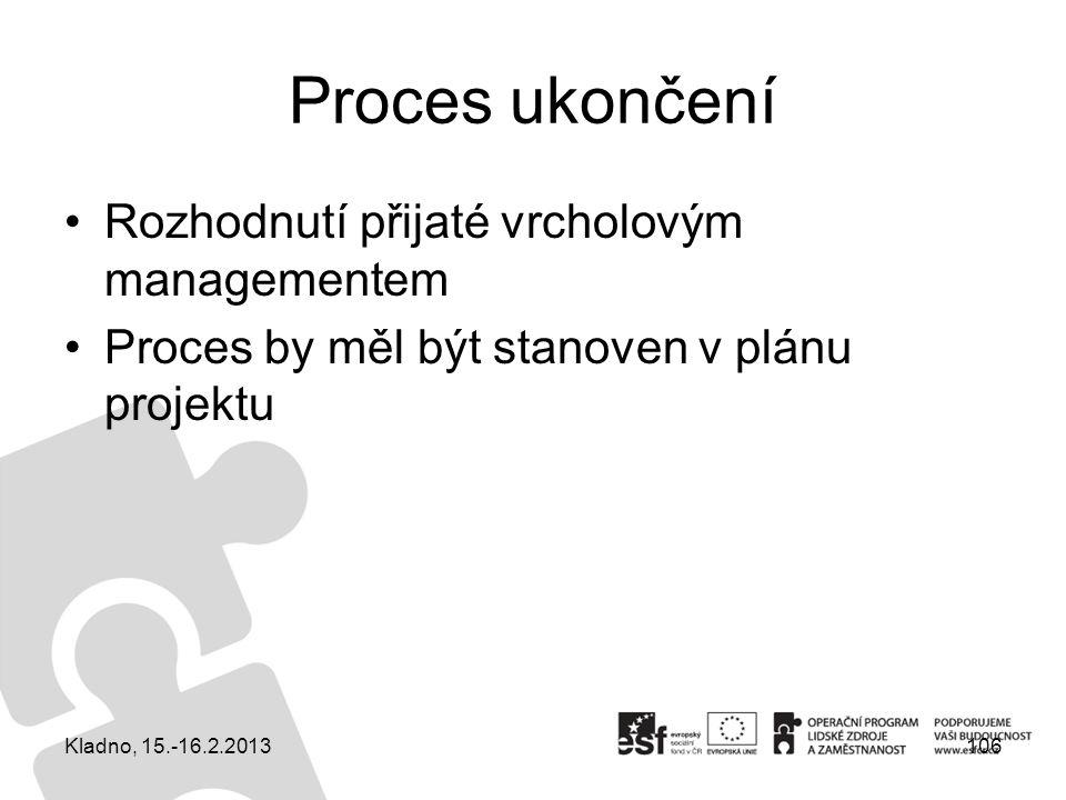 Proces ukončení Rozhodnutí přijaté vrcholovým managementem