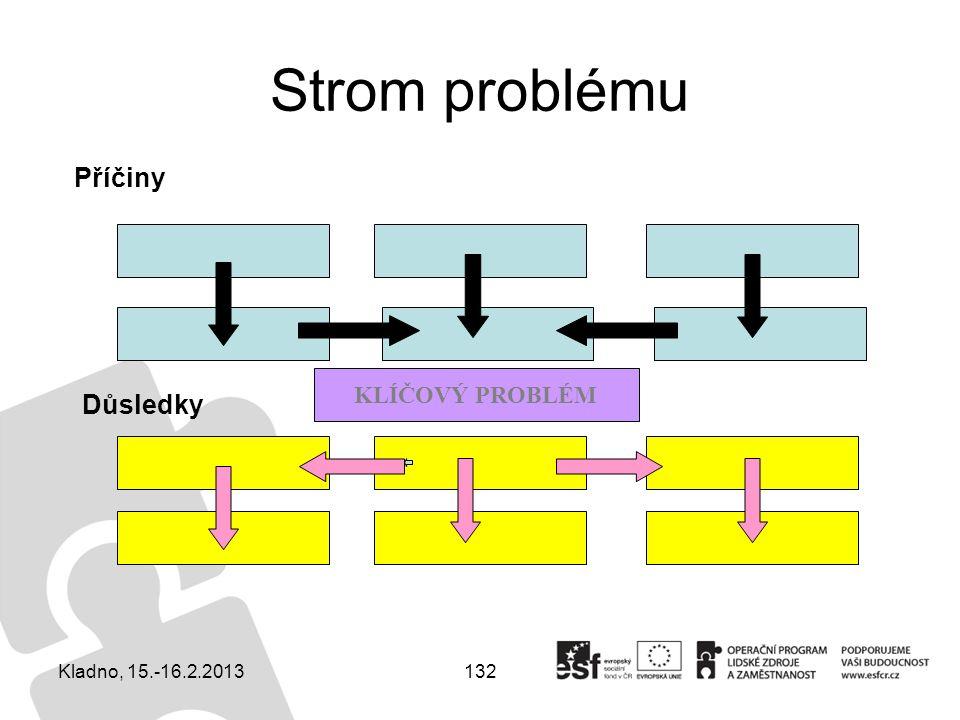 Strom problému Příčiny KLÍČOVÝ PROBLÉM Důsledky Kladno, 15.-16.2.2013