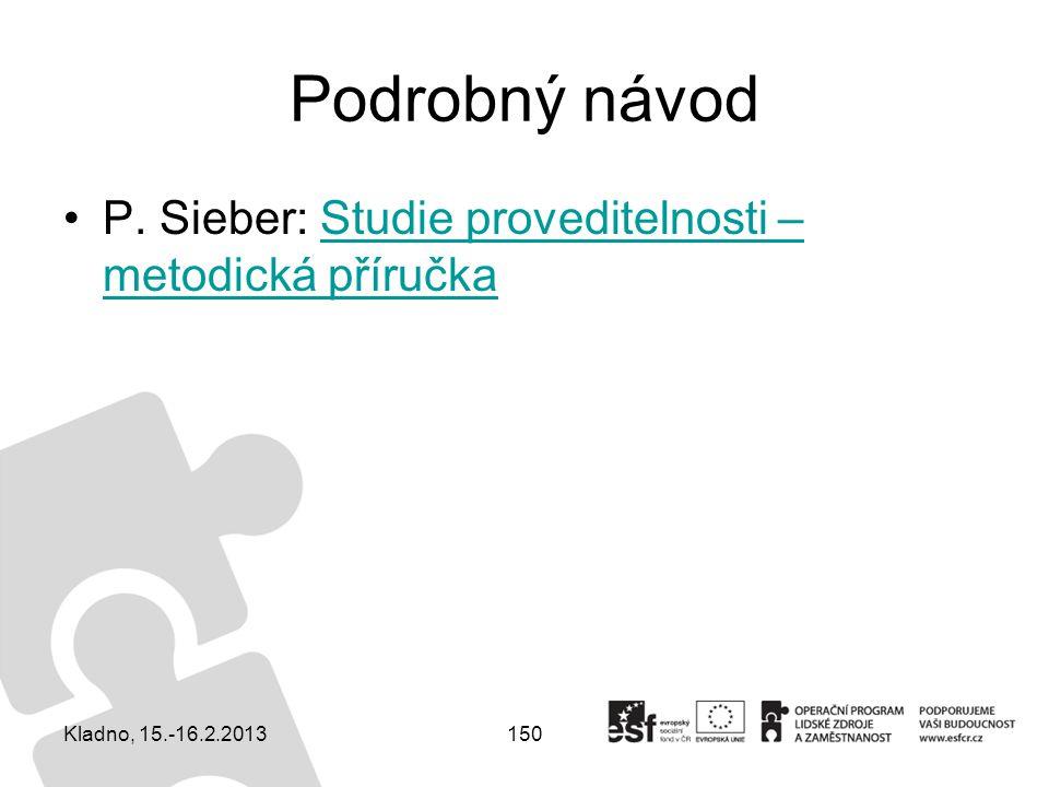 Podrobný návod P. Sieber: Studie proveditelnosti – metodická příručka