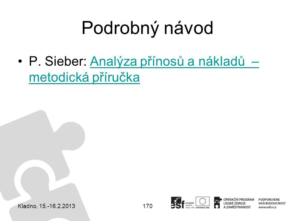 Podrobný návod P. Sieber: Analýza přínosů a nákladů – metodická příručka Kladno, 15.-16.2.2013