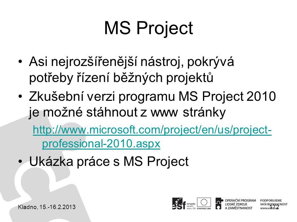 MS Project Asi nejrozšířenější nástroj, pokrývá potřeby řízení běžných projektů.