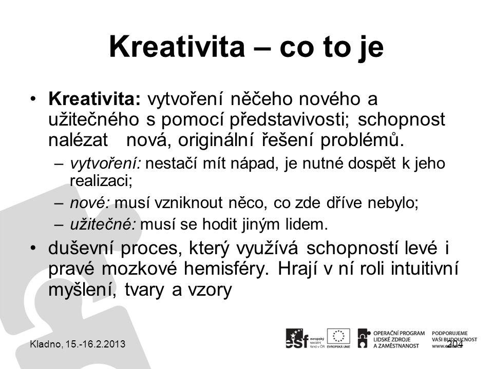 Kreativita – co to je Kreativita: vytvoření něčeho nového a užitečného s pomocí představivosti; schopnost nalézat nová, originální řešení problémů.