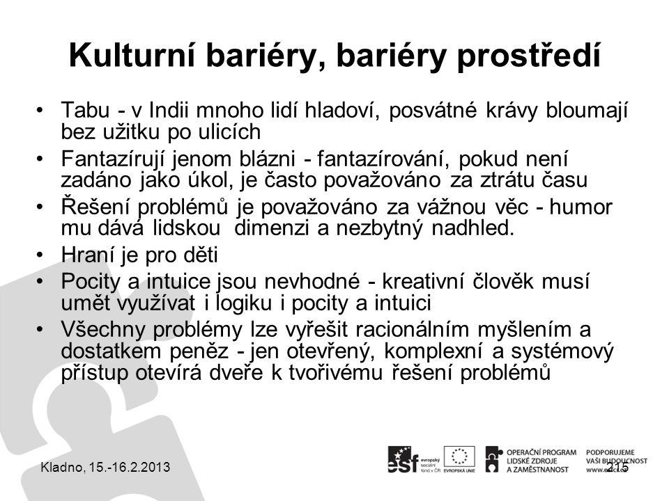 Kulturní bariéry, bariéry prostředí