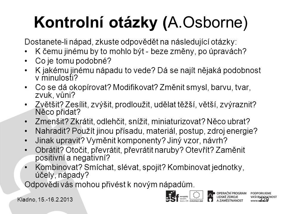 Kontrolní otázky (A.Osborne)