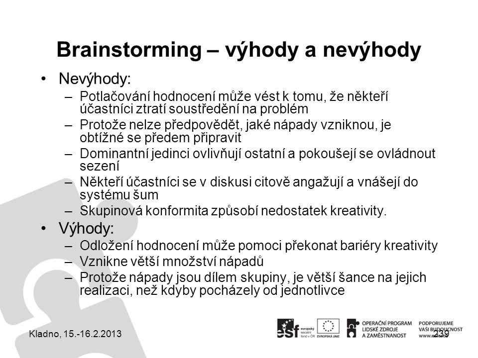 Brainstorming – výhody a nevýhody