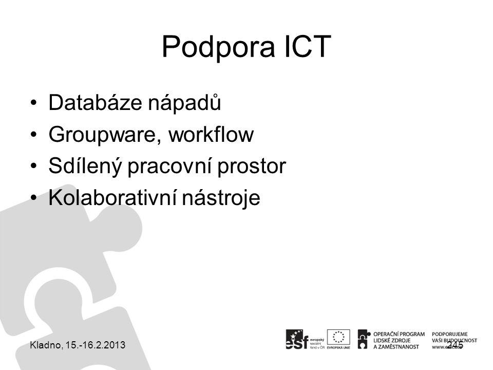 Podpora ICT Databáze nápadů Groupware, workflow