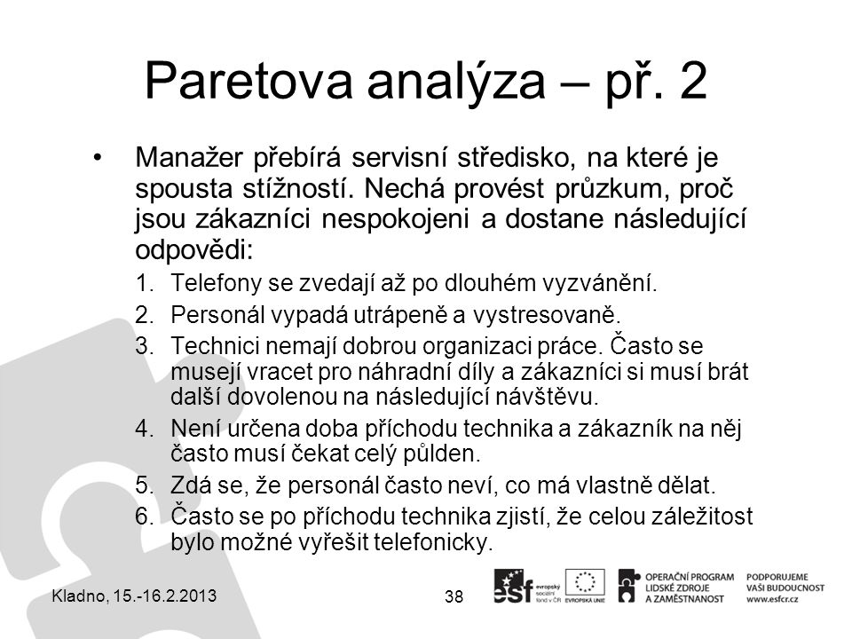 Paretova analýza – př. 2