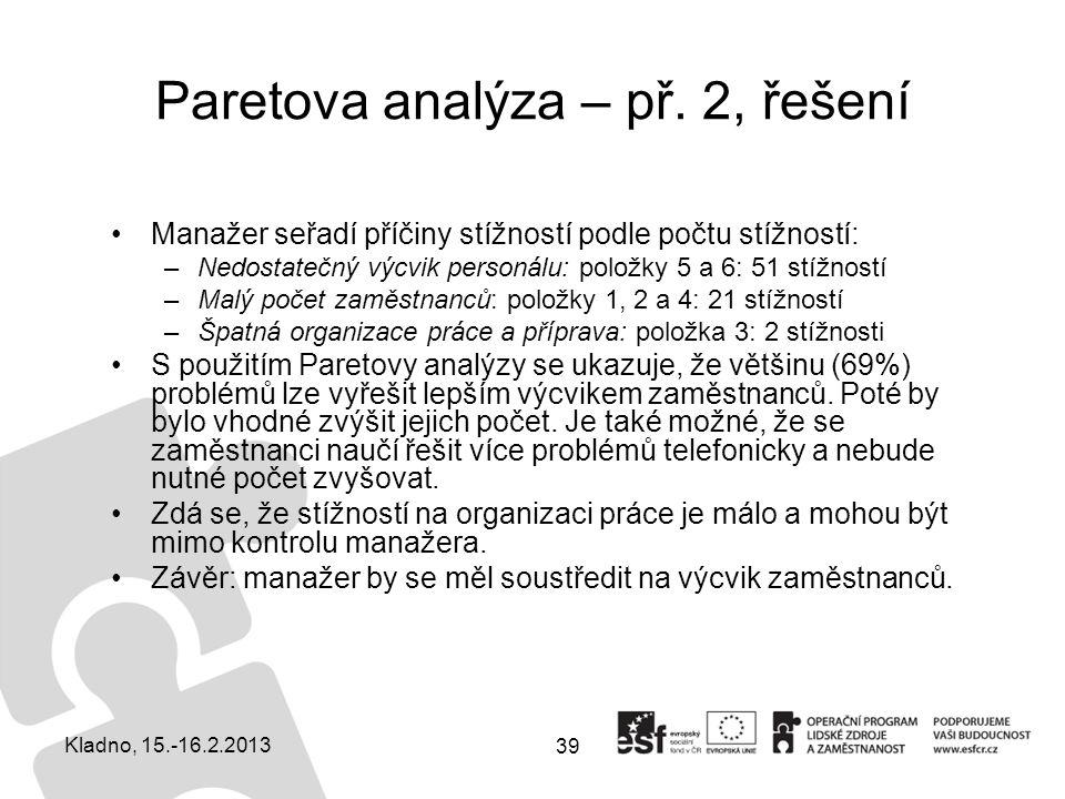 Paretova analýza – př. 2, řešení