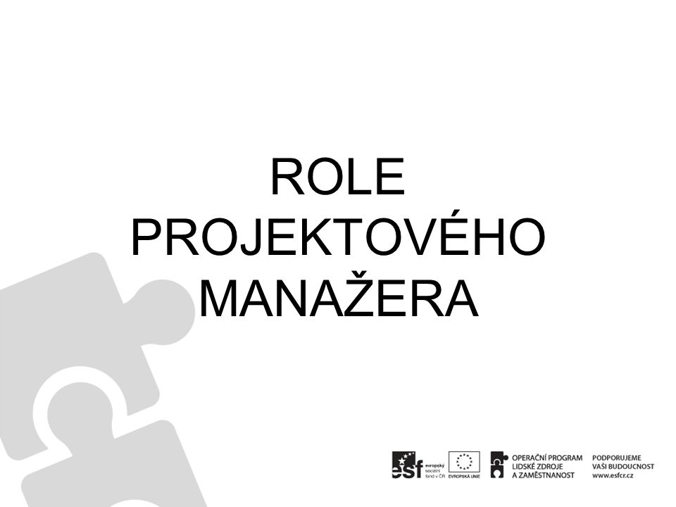 ROLE PROJEKTOVÉHO MANAŽERA