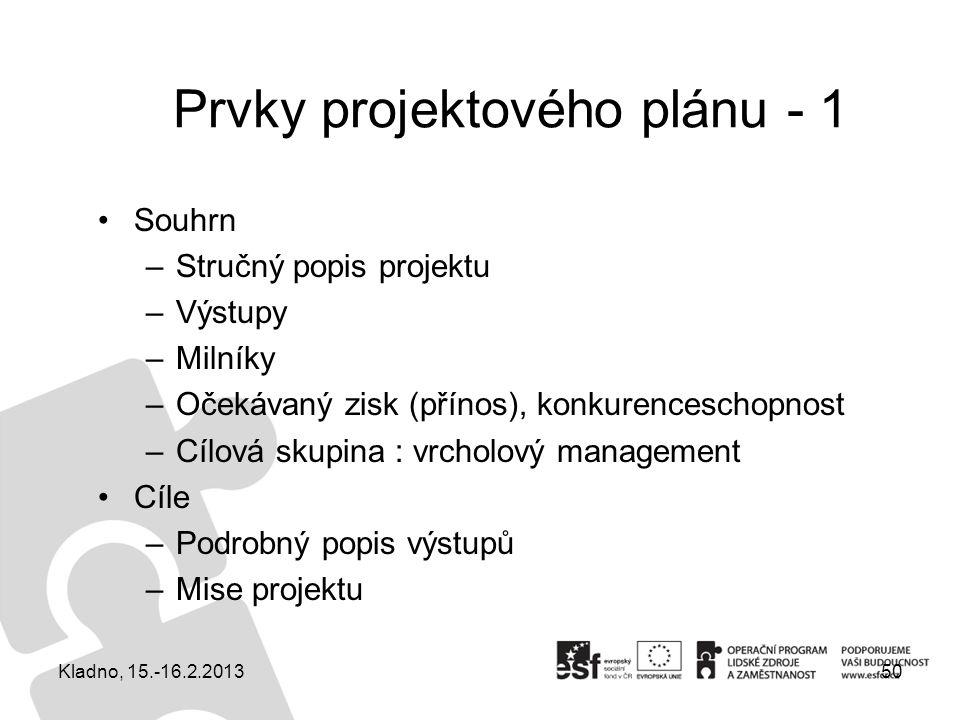 Prvky projektového plánu - 1