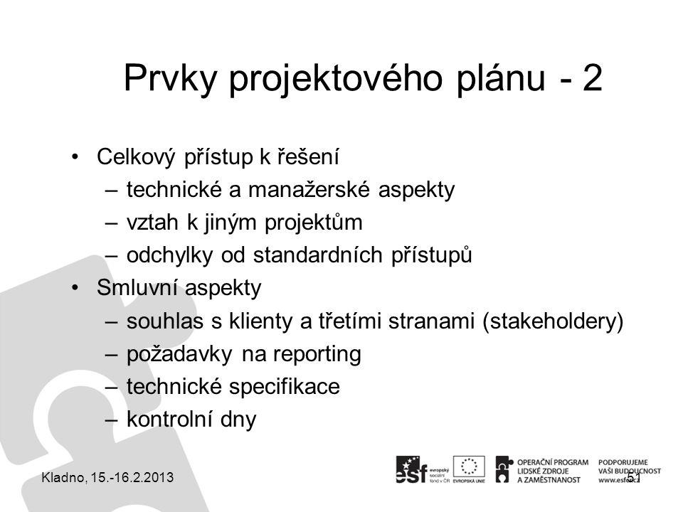 Prvky projektového plánu - 2