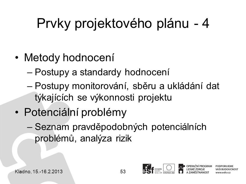 Prvky projektového plánu - 4