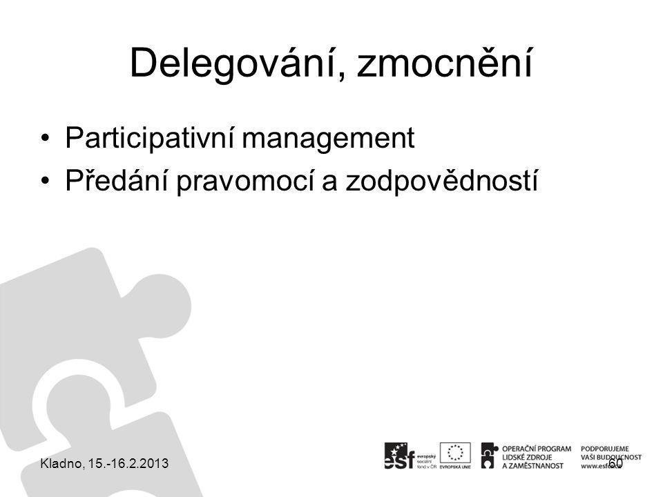 Delegování, zmocnění Participativní management