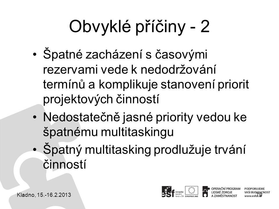 Obvyklé příčiny - 2 Špatné zacházení s časovými rezervami vede k nedodržování termínů a komplikuje stanovení priorit projektových činností.