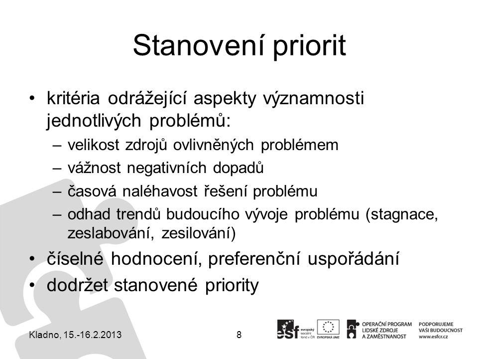 Stanovení priorit kritéria odrážející aspekty významnosti jednotlivých problémů: velikost zdrojů ovlivněných problémem.