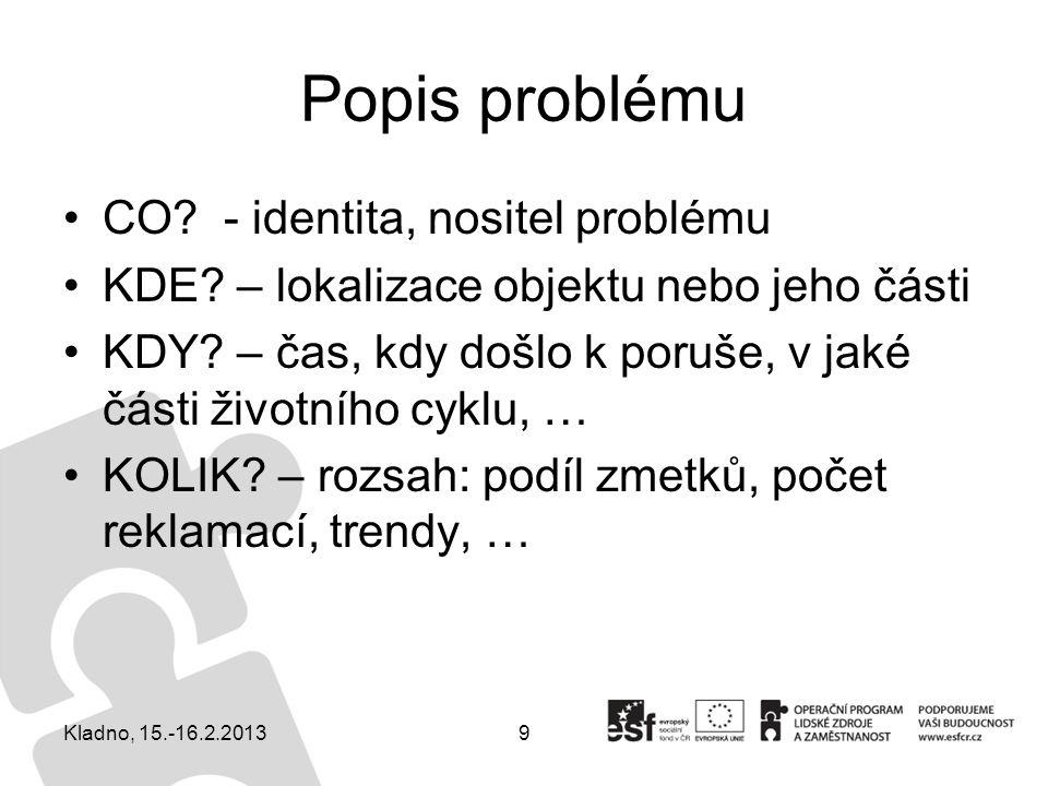 Popis problému CO - identita, nositel problému