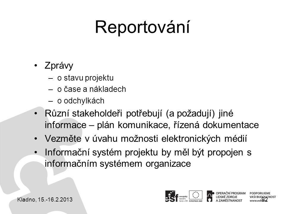 Reportování Zprávy. o stavu projektu. o čase a nákladech. o odchylkách.