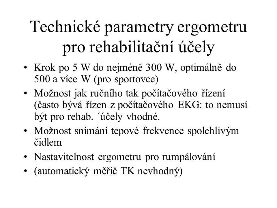 Technické parametry ergometru pro rehabilitační účely