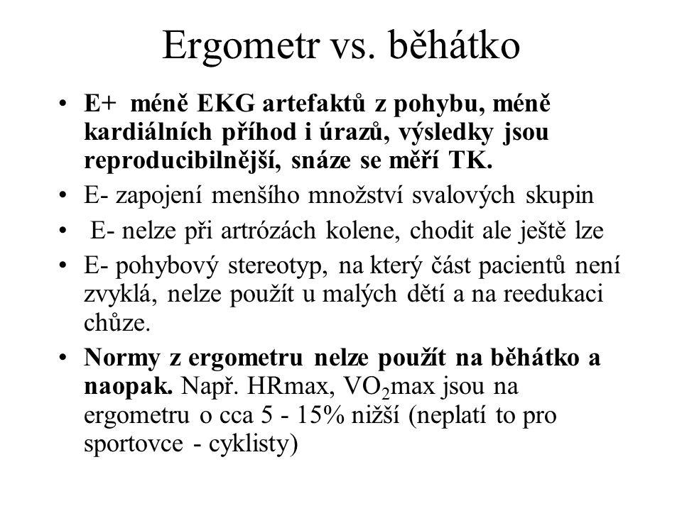 Ergometr vs. běhátko E+ méně EKG artefaktů z pohybu, méně kardiálních příhod i úrazů, výsledky jsou reproducibilnější, snáze se měří TK.