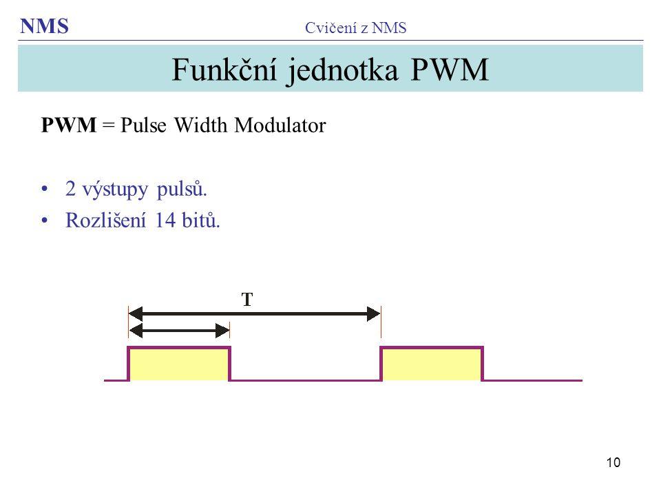 Funkční jednotka PWM PWM = Pulse Width Modulator 2 výstupy pulsů.