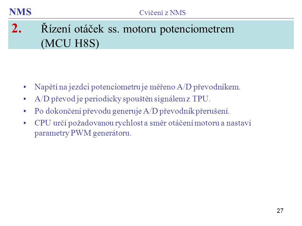 2. Řízení otáček ss. motoru potenciometrem (MCU H8S)