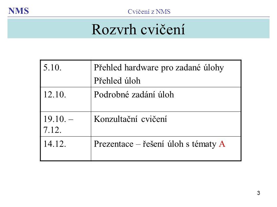 Rozvrh cvičení 5.10. Přehled hardware pro zadané úlohy Přehled úloh