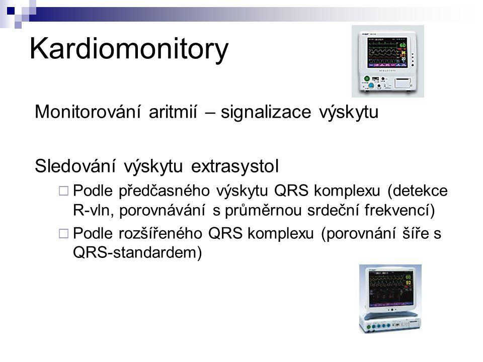 Kardiomonitory Monitorování aritmií – signalizace výskytu