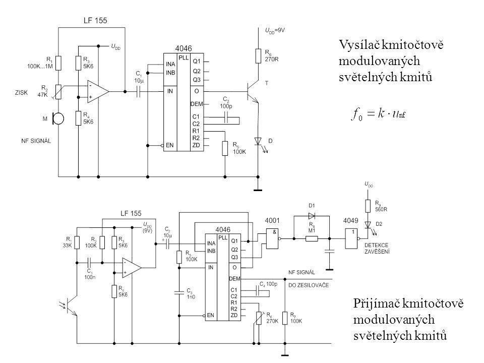 Vysílač kmitočtově modulovaných světelných kmitů Přijímač kmitočtově modulovaných světelných kmitů