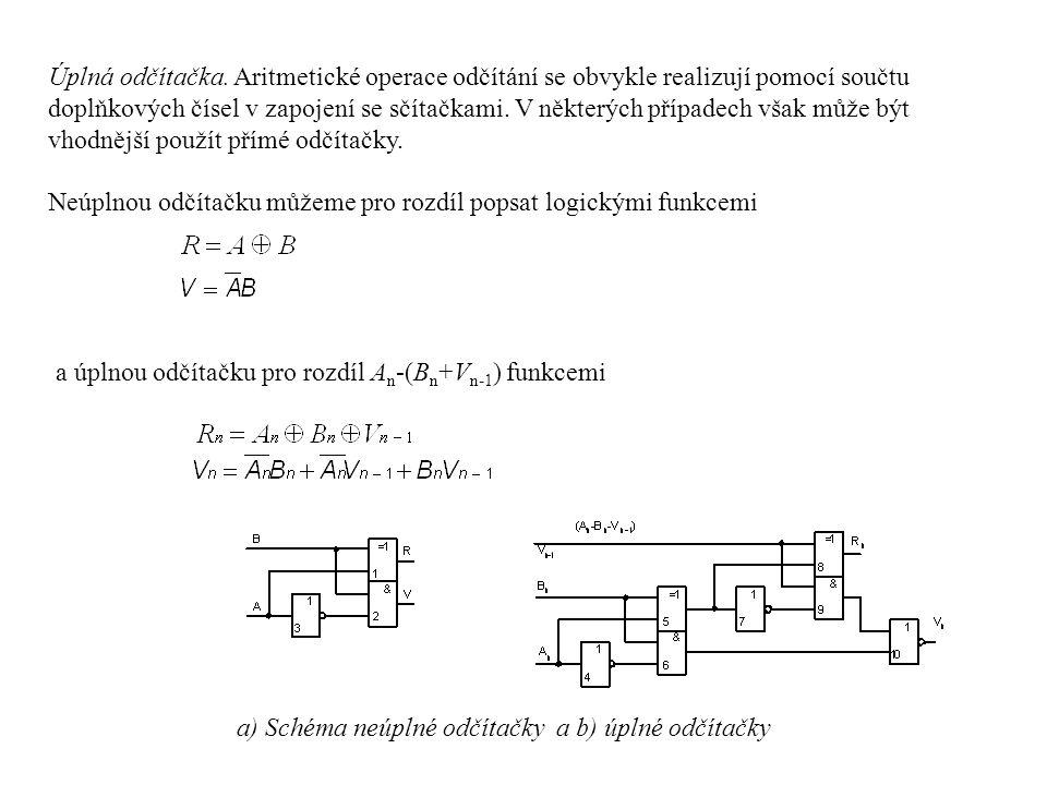 Úplná odčítačka. Aritmetické operace odčítání se obvykle realizují pomocí součtu doplňkových čísel v zapojení se sčítačkami. V některých případech však může být vhodnější použít přímé odčítačky.