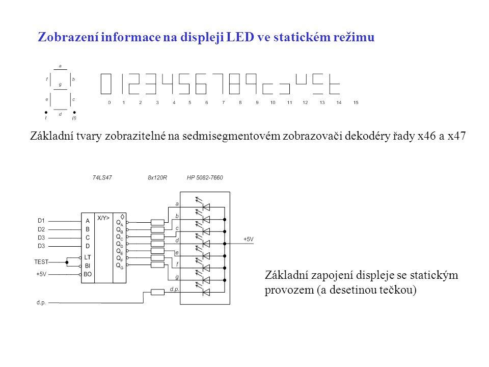 Zobrazení informace na displeji LED ve statickém režimu