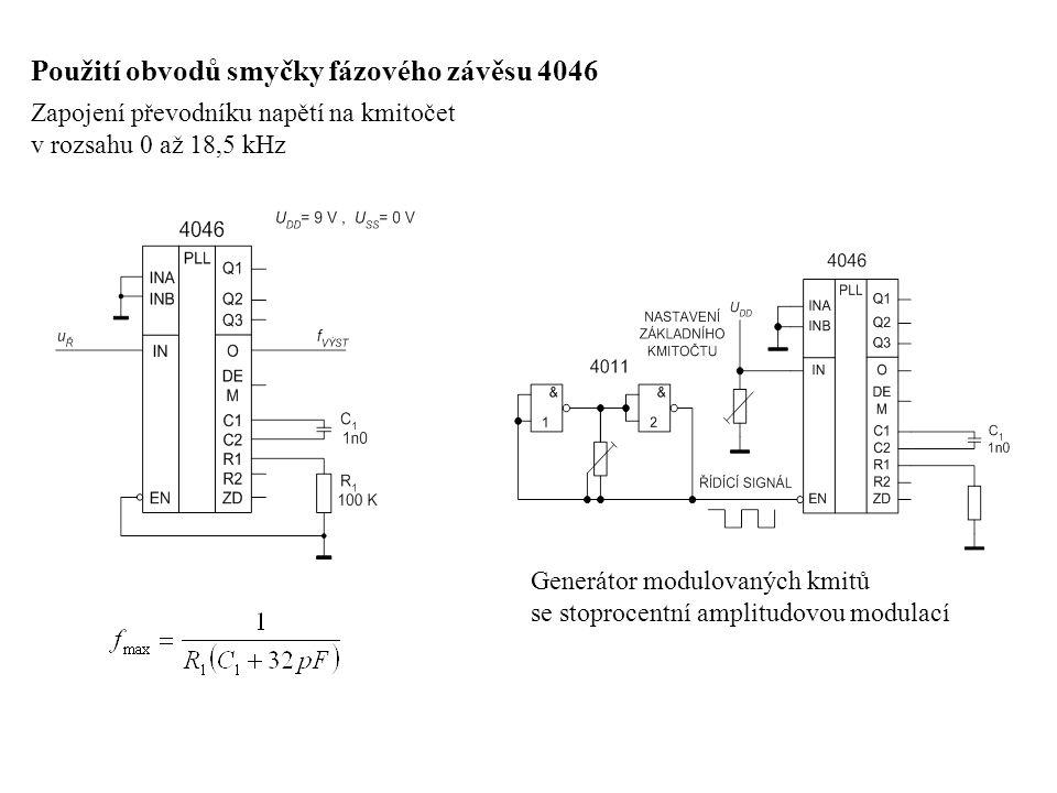Použití obvodů smyčky fázového závěsu 4046