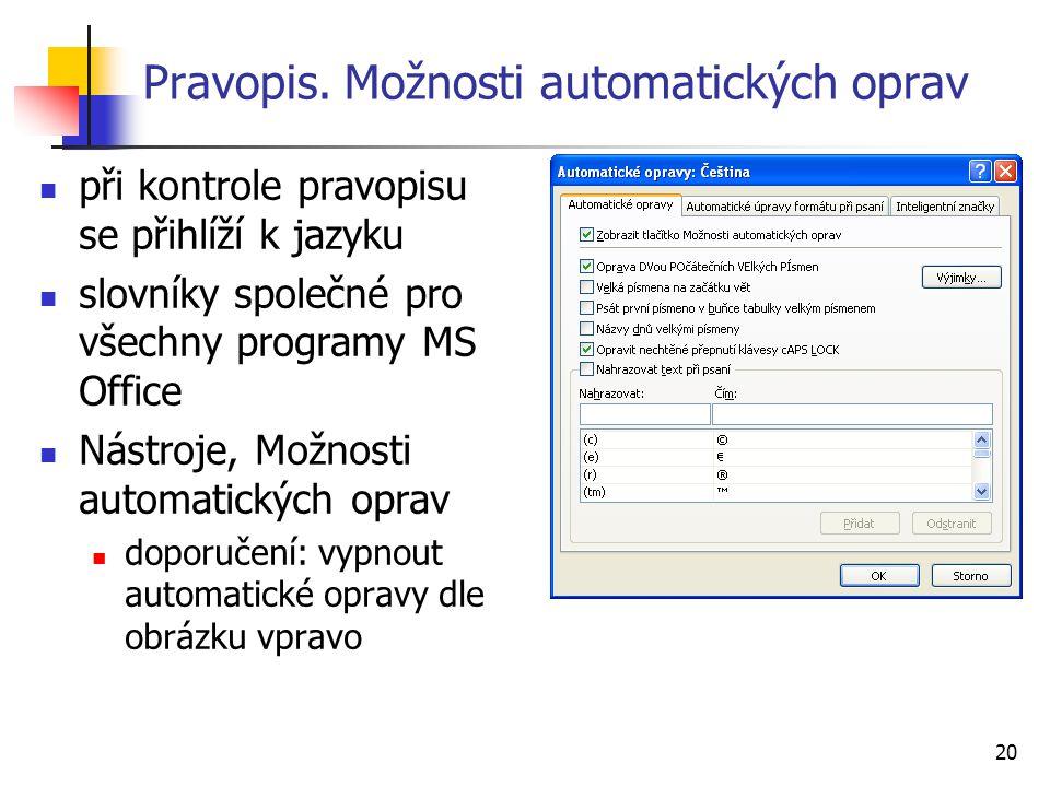 Pravopis. Možnosti automatických oprav