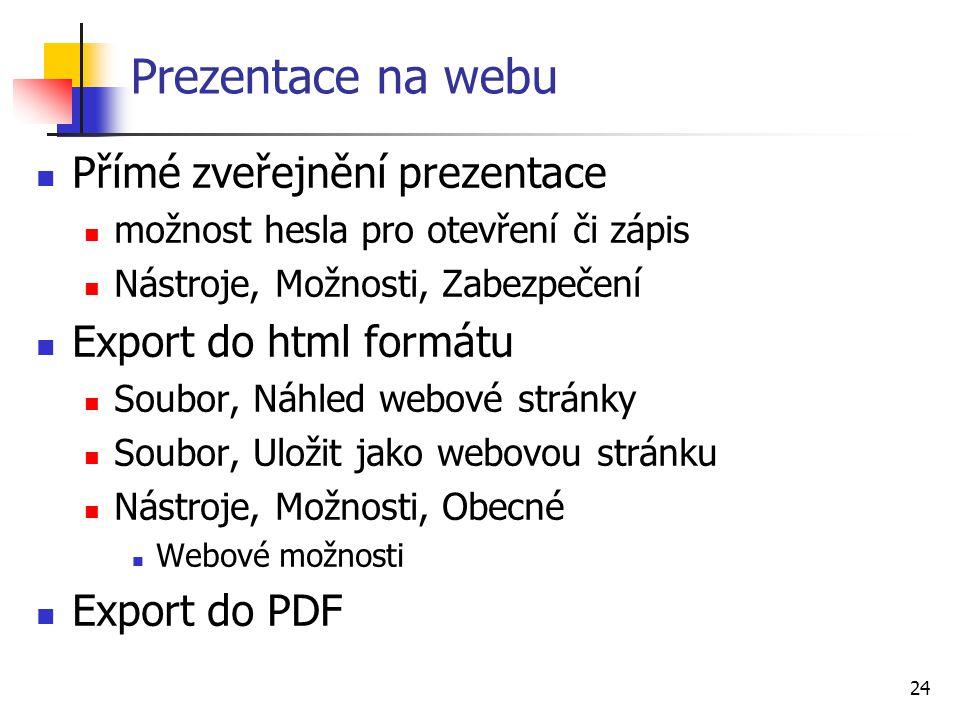 Prezentace na webu Přímé zveřejnění prezentace Export do html formátu