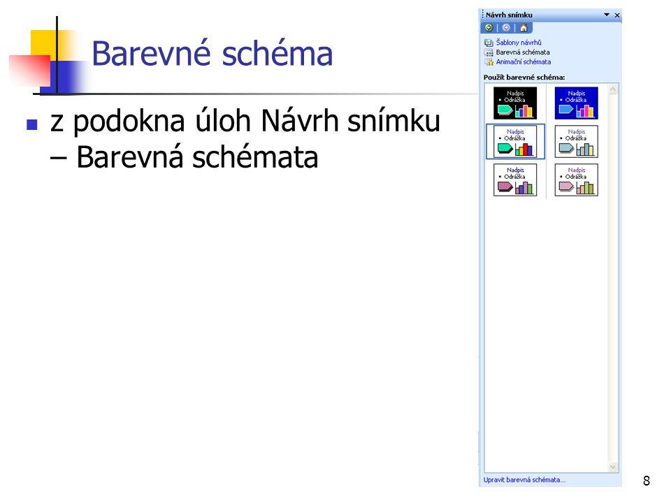 Barevné schéma z podokna úloh Návrh snímku – Barevná schémata