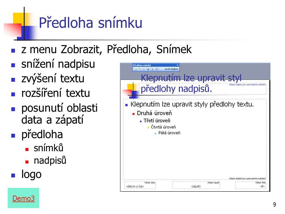 Předloha snímku z menu Zobrazit, Předloha, Snímek snížení nadpisu
