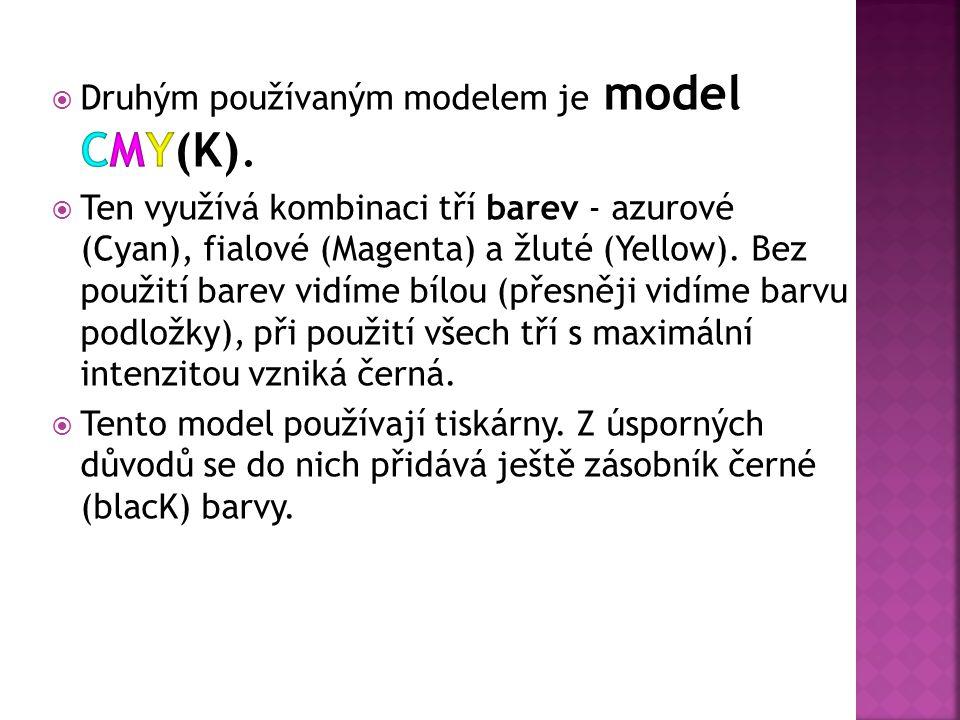 Druhým používaným modelem je model CMY(K).