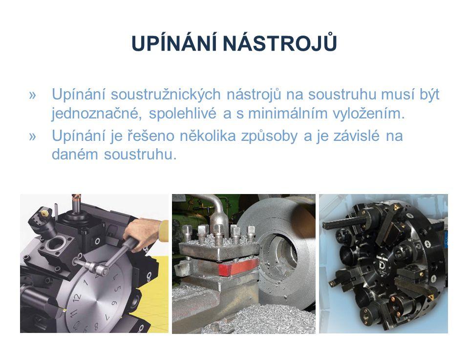 Zdroje Upínání nástrojů. Upínání soustružnických nástrojů na soustruhu musí být jednoznačné, spolehlivé a s minimálním vyložením.