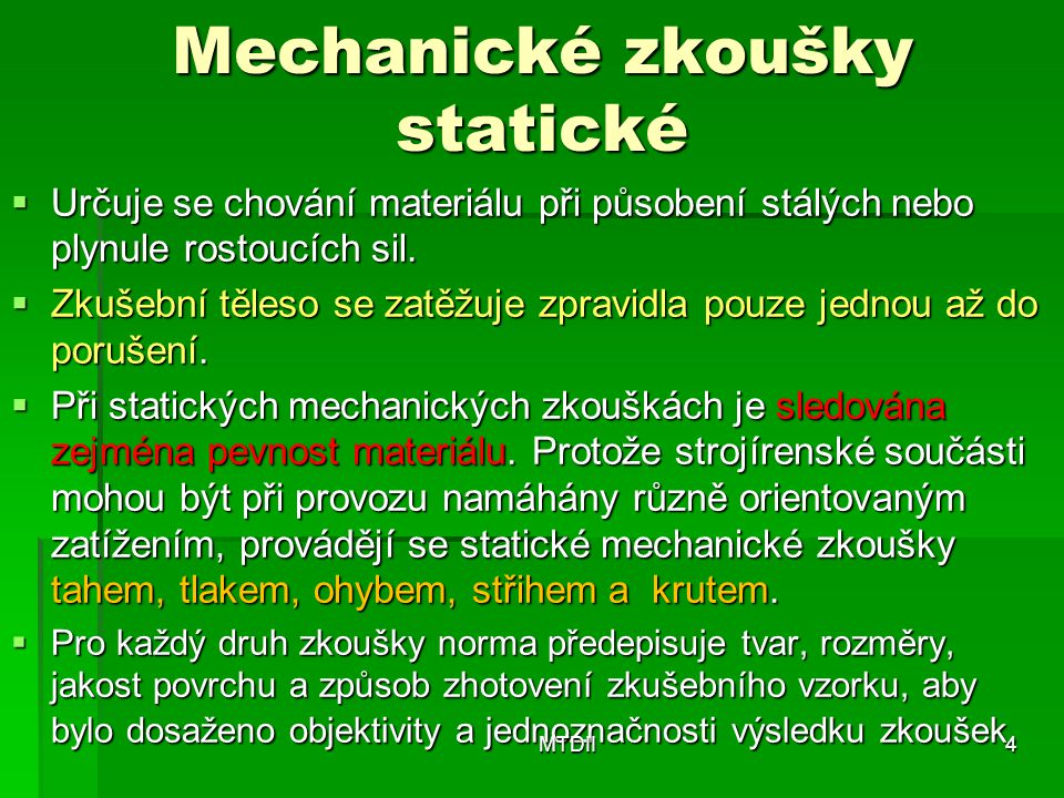 Mechanické zkoušky statické
