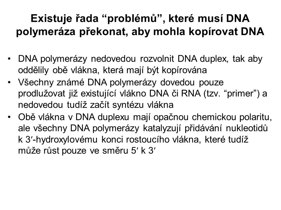 Existuje řada problémů , které musí DNA polymeráza překonat, aby mohla kopírovat DNA