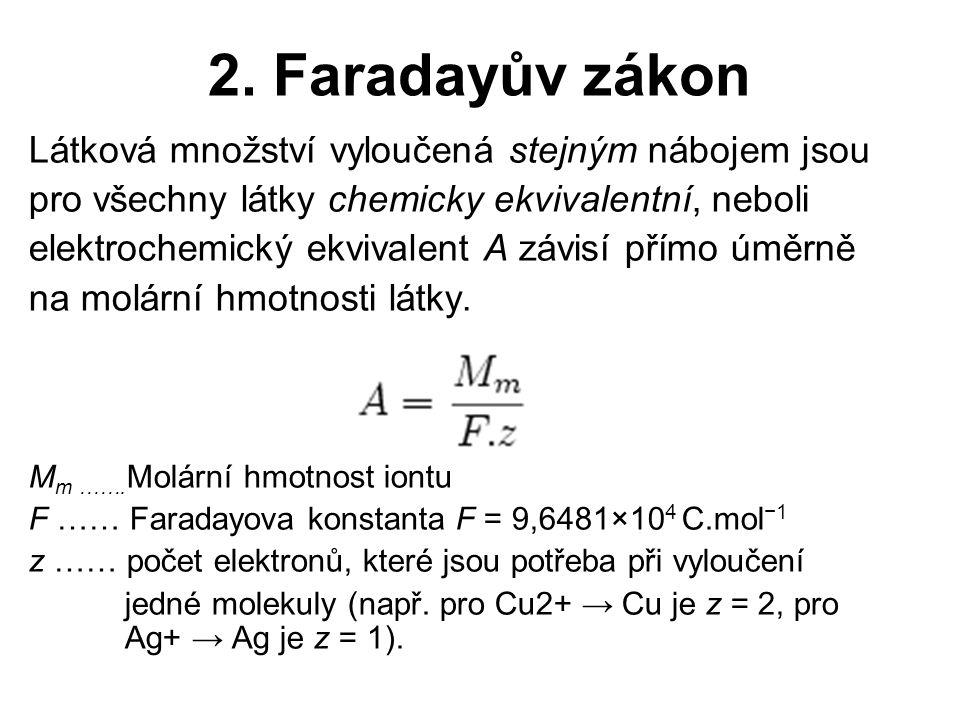 2. Faradayův zákon Látková množství vyloučená stejným nábojem jsou