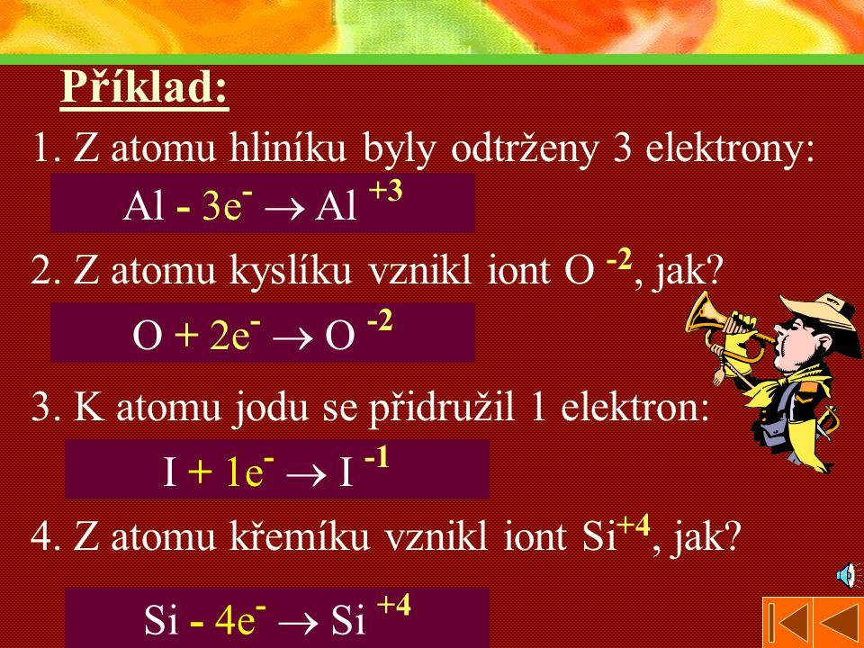 Příklad: 1. Z atomu hliníku byly odtrženy 3 elektrony: