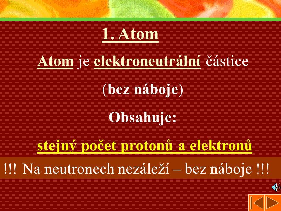 1. Atom Atom je elektroneutrální částice (bez náboje) Obsahuje: