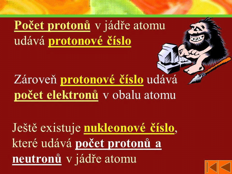Počet protonů v jádře atomu udává protonové číslo
