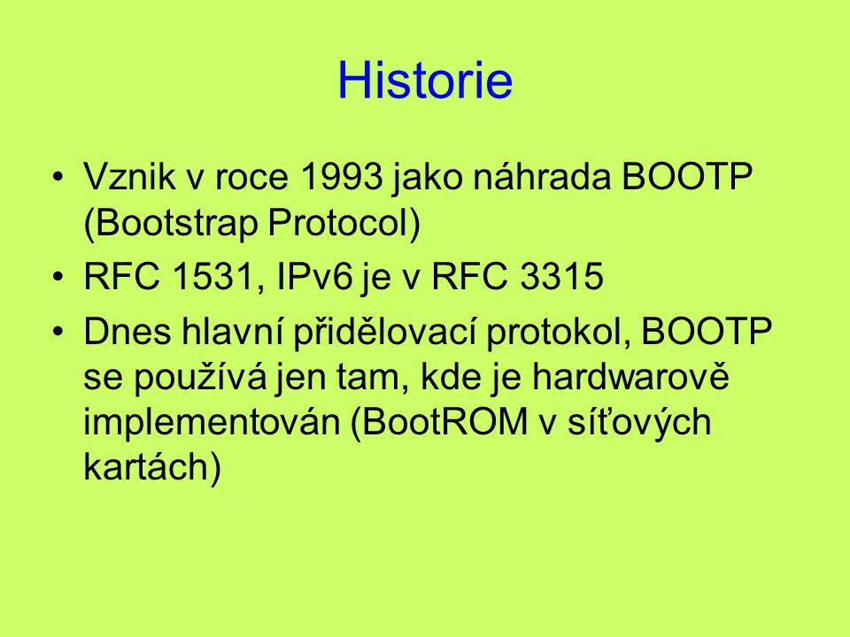 Historie Vznik v roce 1993 jako náhrada BOOTP (Bootstrap Protocol)