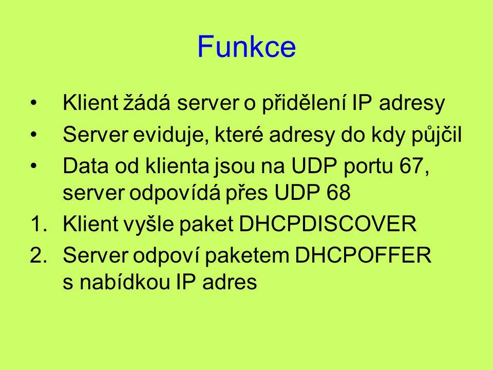 Funkce Klient žádá server o přidělení IP adresy