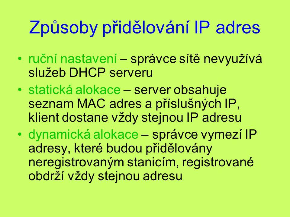 Způsoby přidělování IP adres